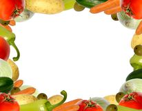 Vegetable frame. Colorful vegetables isolated on white Stock Photo
