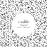 Vegetable frame pattern. Healthy food ingredient card background. Vegetable frame pattern. Healthy food ingredient doodle line  background Stock Photos