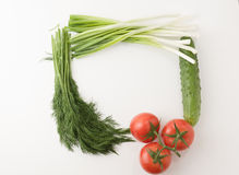 Vegetable frame. Ripe vegetables lie on a white table forming a square frame Stock Photo