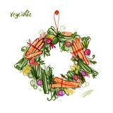 Vegetable frame, sketch for your design Royalty Free Stock Photos