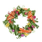 Vegetable frame, sketch for your design Royalty Free Stock Photography