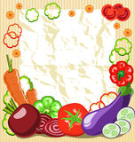 Vegetable frame. Frame of vegetables with a piece of paper Stock Image