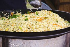 Vegetable fried rice. In the pot Royalty Free Stock Photos