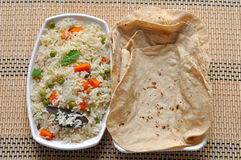 Vegetable fried rice and roti Royalty Free Stock Photo