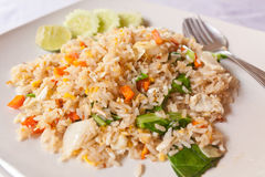 Vegetable fried rice with spoon Stock Photo