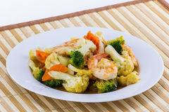 Vegetable fried with shrimp on white plate Stock Image