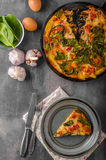 Vegetable frittata in oven Royalty Free Stock Photo