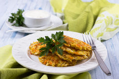 Vegetable fritters with cabbage and carrots Royalty Free Stock Photography