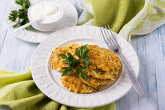 Vegetable fritters with cabbage and carrots Stock Image