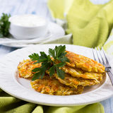 Vegetable fritters with cabbage and carrots Stock Images