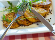 Vegetable fritters with carrots and zucchini Royalty Free Stock Photos