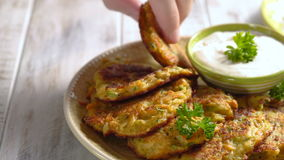 Vegetable fritters with potato, carrot, zucchini served with Ranch sauce. stock footage