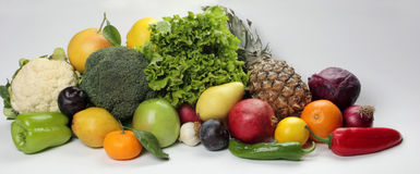 Vegetable and Fruit. Colorful fresh group of fruits and vegetables for a balanced diet. Look at my gallery for more fresh fruits and vegetables Stock Image