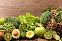 Vegetable and fruit. Assorted green vegetable and fruit Royalty Free Stock Image