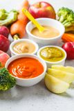 Vegetable and fruit baby puree in white bowls with ingredients. Baby food concept