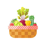 Vegetable and fruit basket  (fig, grape, beetroot, apple, asparagus, strawberry). Modern flat design. Royalty Free Stock Photos