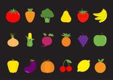 Vegetable fruit berry icon set. Pear, strawberry, banana, pineapple, grape, apple, cherry, lemon, orange. Pepper, tomato, carrot, Royalty Free Stock Image