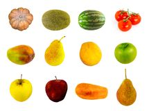 Vegetable fruit canvas pattern pumpkin tomatoes cherry melon watermelon peach apple mango. On a white background Royalty Free Stock Images