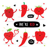 Vegetable and Fruit Cartoon Cute Set Pepper Red Chili Tomato Apple Strawberry Vector Royalty Free Stock Photography