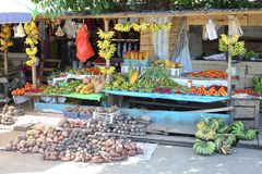 Vegetable and fruit, fish market in Morotai Island, Indonesia Stock Image