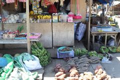 Vegetable and fruit, fish market in Morotai Island, Indonesia Royalty Free Stock Photo