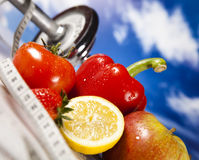 Vegetable and fruit fitness and blue sky Stock Images