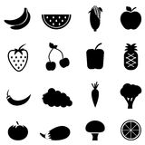 Vegetable and fruit icons. Vegetables and fruit health eating icons Royalty Free Stock Photo