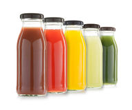 Vegetable and fruit juice bottles isolated Stock Photography