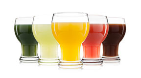 Vegetable and fruit juice glass isolated Stock Photos