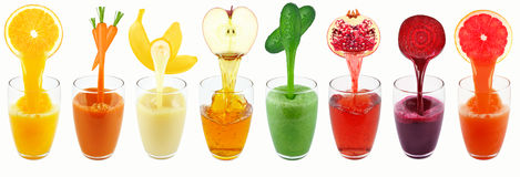 Vegetable and fruit juices Royalty Free Stock Images