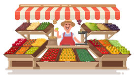 Vegetable Fruit local Shop. Happy Farmer  sells fresh natural pr. Oducts . Vector illustration in a flat style Stock Photo