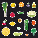 Vegetable and fruit multicolored stickers (icons) vector set. Minimalistic flat design. Royalty Free Stock Photography