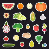 Vegetable and fruit multicolored stickers (icons) vector set. Stock Photos
