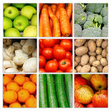 Vegetable fruit nutrition collage. Vegetable greens nutrition and fruit collage background. Vegetables and fruits Stock Photography
