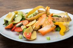 Vegetable And Fruit Peelings On Plate Royalty Free Stock Photo