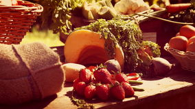Vegetable and fruit putting on table stock footage