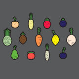 Vegetable and fruit, simple icon collection. Vector illustration Royalty Free Stock Photos