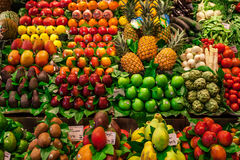 Vegetable and fruit stall in Mercat de la Boqueria Stock Photos
