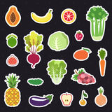 Vegetable and fruit stickers (icons) vector set. Modern flat design. Stock Image