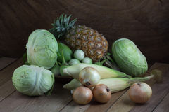 Vegetable and fruit on the wooden table Stock Photography