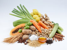Vegetable and fruits. Shot of fresh vegetables, fruits and dried food Stock Photography