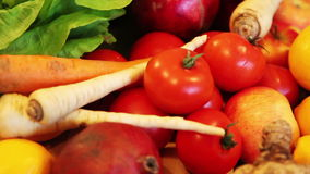 Vegetable and fruits display stock video footage