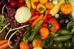 Vegetable and fruits mixed at groceries Royalty Free Stock Image