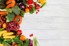 Vegetable and fruits on white wood background Stock Images