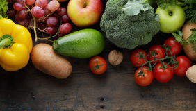 Vegetable and fruits on wood background Stock Image