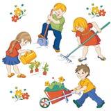 Vegetable garden. Children, workings in a vegetable garden Stock Images