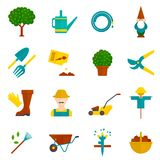 Vegetable garden flat icons set Stock Photography