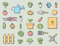 Vegetable garden and  Gardening equipment ,vector icon Royalty Free Stock Photos