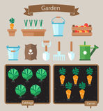Vegetable garden planner flat design.Beds with cabbage, carrots. Royalty Free Stock Photo