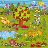 Vegetable garden with vegetables and flowers trees lakes watering and many elements and animals funny cartoon design for childhood